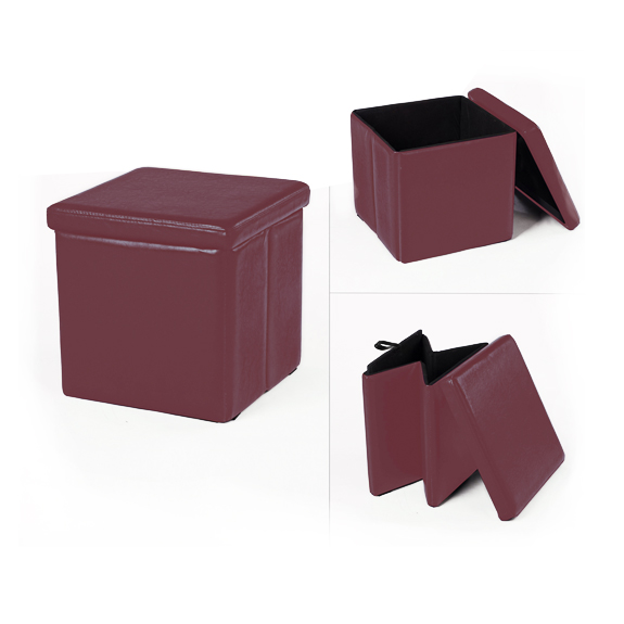 Space Folding Storage Ottoman - Burgundy - Expanse Foldable Storage Ottoman - Burgundy Home Box