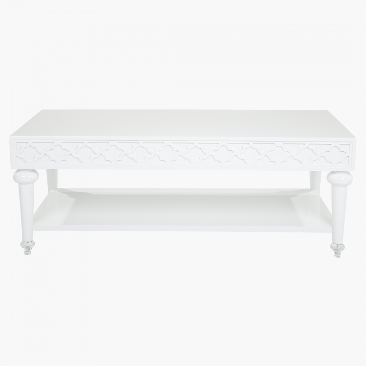 White Marble Arabesque Side Table: Coffee Tables