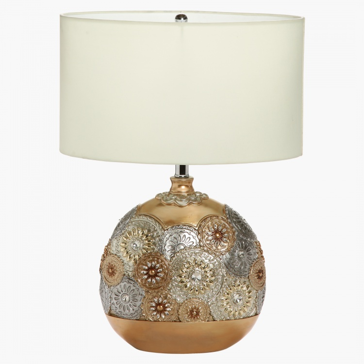 Dry lemon resin table lamp 63 cms