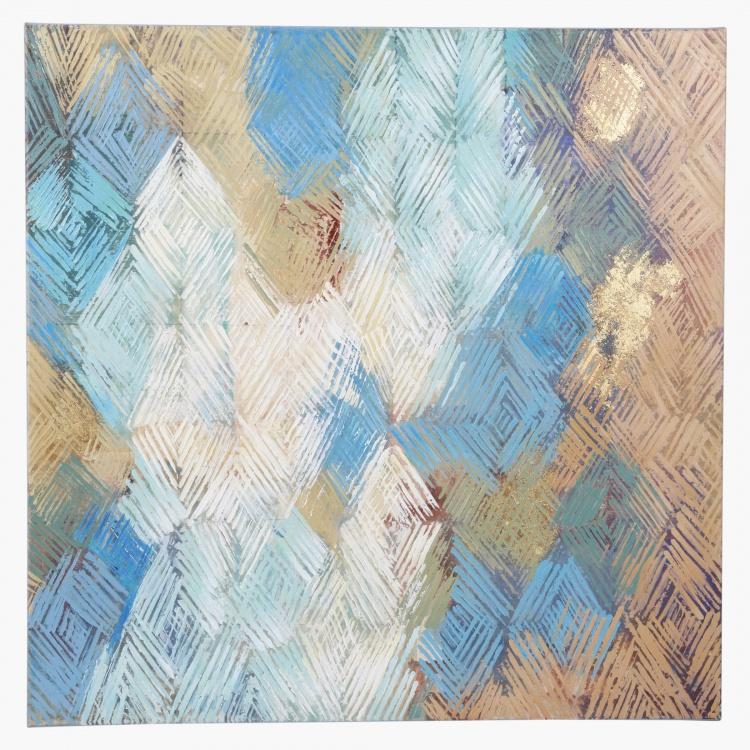 Batik Blue Handmade Oil Painting - 80x3.5x80 cms