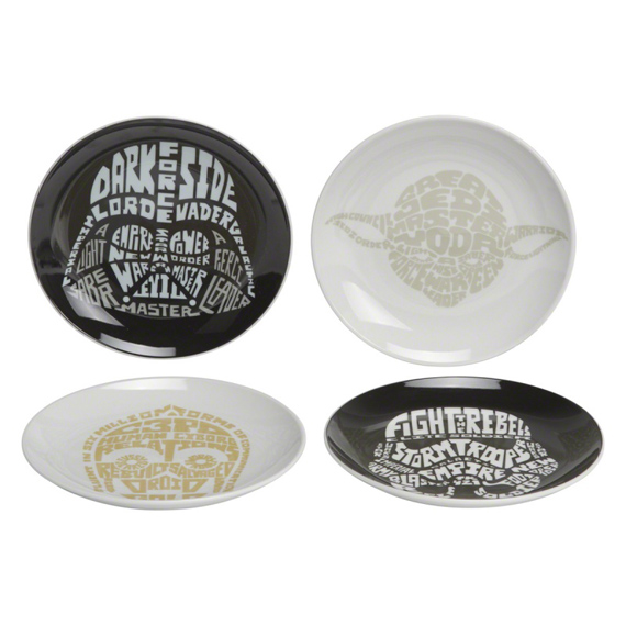 Star Wars Typography Design Round Plates - Set of 4  sc 1 st  Home Centre & Home Centre